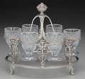 Silver Holloware, British, A George III Silver and Cut-Glass Caduceus Egg Cruet attributed toRebecca Eames and Edward Barnard with Spoons, London. Eng...(Total: 13 Items)