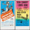"Movie Posters:James Bond, You Only Live Twice & Other Lot (United Artists, 1967). SwedishInserts (2) (12.75"" X 25.25""). James Bond.. ... (Total: 2 Items)"