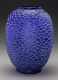 Art Glass:Lalique, R. Lalique Peacock Blue Glass Ecailles Vase. Circa 1932.Engraved R. Lalique France, No. 1080. M p. 456, N...