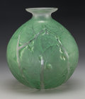 Art Glass:Lalique, R. Lalique Clear Glass Milan Vase with Green Patina. Circa1927. Stenciled R. LALIQUE. M p. 444, No. 1025. H...