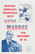 Political:Posters & Broadsides (1896-present), Lester Maddox: Graphic Poster....