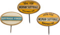 Political:Pinback Buttons (1896-present), Women's Suffrage: Three Oval Buttons.... (Total: 3 Items)