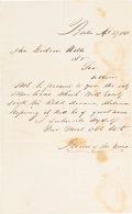 Political:Small Paper (pre-1896), Gideon Welles: Enigmatic Letter to Welles Re: C.S.S. Alabama....
