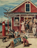 Paintings, Stevan Dohanos (American, 1907-1994). Menemsha, Massachusetts, Post Office, Saturday Evening Post cover, August 26, 1950...