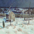 Paintings, Christopher Willett (American, b. 1959). Night on River Road, Bucks County. Oil on canvas. 35-3/4 x 35-3/4 inches (90.8 ...