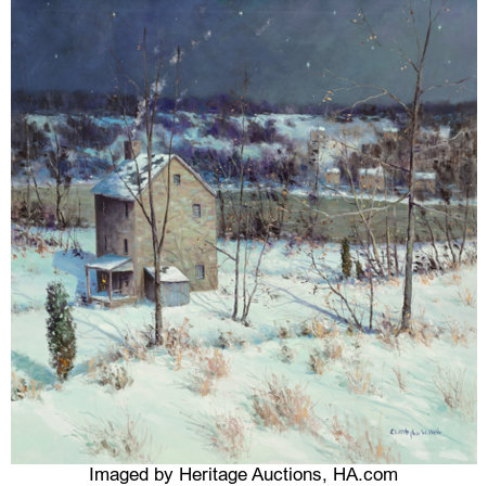 Christopher Willett (American, b. 1959)Night on River Road, Bucks CountyOil on canvas35-3/4 x 35-3/4 inches (90.8 ...