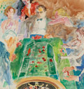 Fine Art - Work on Paper:Watercolor, Leroy Neiman (American, 1921-2012). The Corsican atRoulette, 1986. Watercolor and pencil on paper. 18-1/4 x 17inches (...