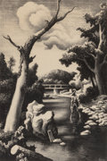 Fine Art - Work on Paper:Print, Thomas Hart Benton (American, 1889-1975). Shallow Creek,1939. Lithograph. 14-1/4 x 9-3/8 inches (36.1 x 23.9 cm). Ed. 2...