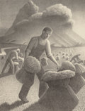 Prints, Grant Wood (American, 1891-1942). Approaching Storm, 1940. Lithograph. 11-3/4 x 8-3/4 inches (29.8 x 22.2 cm). Ed. 250. ...