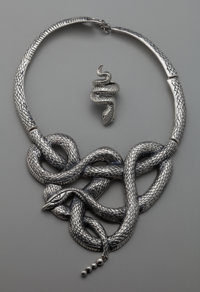 An Emilia Castillo Silver Rattle Snake Necklace and Ring, Taxco, Mexico, 2015 Mar