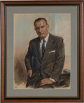 Political:3D & Other Display (1896-present), Lyndon B. Johnson: A Beautiful Large Pastel Portrait by Louis Lupas....