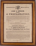 Political:Posters & Broadsides (pre-1896), Abraham Lincoln: 1863 Thanksgiving Proclamation....
