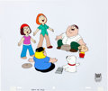 Animation Art:Production Cel, Family Guy Entire Family Hand-Painted Cel and MatchingAnimation Drawing (Fox Studio, 1991).... (Total: 4 Items)