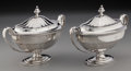 Silver Holloware, British:Holloware, A Pair of Abraham Peterson George III Covered Sauce Boats, London,England, circa 1799. Marks: (lion passant), (crowned leop...(Total: 2 Items)
