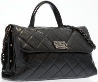 Chanel Black Quilted Lambskin Leather Shoulder Bag with Gunmetal Hardware Excellent Condition 13""