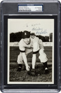 Baseball Collectibles:Photos, 1949 Mickey Mantle Signed Independence (KS) Yankees Photograph. ...