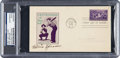 Baseball Collectibles:Others, 1939 Tris Speaker Signed Baseball Centennial First Day Cover. ...