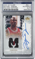 Autographs:Sports Cards, 2004 Upper Deck Glass Michael Jordan Monumental Marks #MJ-JAutograph Game Used Jersey Card with Pinstripe PSA/DNA Authentic....