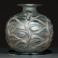 Art Glass:Lalique, R. Lalique Clear and Frosted Glass Sophora Vase with aStand. On a simple ebonized wood stand of the period.. Ci...(Total: 2 Items)
