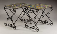 A Pair of Antique Continental Glazed Tile Top Garden Tables 20th Century Ceramic tile, wrought iron 22 i