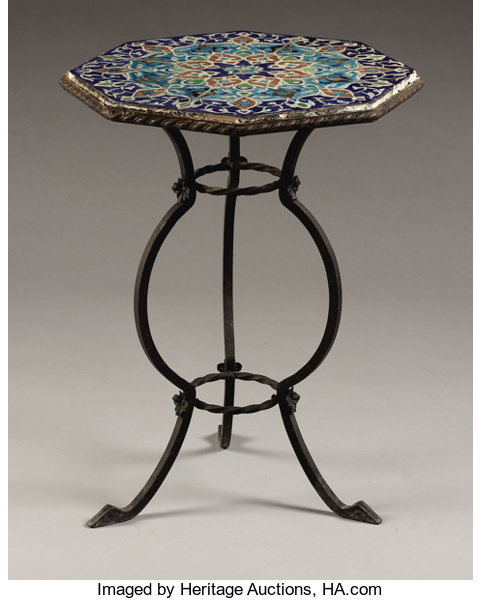 Tile Top Table With Wrought Iron