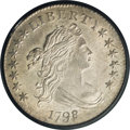 Early Dimes: , 1798/97 10C 16 Stars on Reverse MS63 PCGS. JR-1, R.3. A satiny andbeautiful stone-gray representative with refreshingly cl...