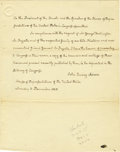 "Autographs:U.S. Presidents, John Quincy Adams Autograph Letter Signed in full. One page, 7.75""x 9.75"", [Washington], December 3, 1838, to the President..."