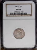 Bust Dimes: , 1814 10C Large Date MS61 NGC. JR-3, R.2. A light rose-lilac patinacoats both sides. The strike is soft on the 4 in the dat...