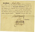 "Autographs:Statesmen, [Alexander Hamilton] Printed Document signed ""Gouv Morris,"" ""R King,"" ""Egbt. Benson,"" ""Oliv Wolcott,"" and ""... (Total: 1 Item)"