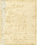 "Autographs:Military Figures, John Sullivan Important Autograph Letter Signed ""JnoSullivan,"" one page, 7.5"" x 9"". Providence, October 27, 1778.To Ma..."
