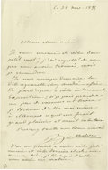 "Autographs:Artists, Statue of Liberty Sculptor Frederic August Bartholdi AutographLetter Signed, ""Bartholdi"", one page, 4.5"" x 7"", n.p., No...(Total: 1 Item)"