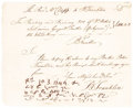 "Autographs:Statesmen, Benjamin Franklin Autograph Document Signed Three Times ""BFranklin"". One page, 7.75"" x 6.25"", attractively framed toan..."