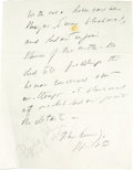"""Autographs:U.S. Presidents, John F. Kennedy Autograph Statement Signed """"John Kennedy/April8th"""" in pencil, two pages, 8.5"""" x 11"""", front and vers...(Total: 1 Item)"""