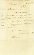 "Autographs:Artists, American Painter Thomas Sully Autograph Letter Signed, ""ThosSully"", one page, 4.75"" x7.75"", Philadelphia, Pennsylvania,...(Total: 1 Item)"