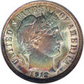 Barber Dimes: , 1912 10C MS66 NGC. Lavish apple-green, honey, and ruby-redpatination endows this lustrous and crisply struck Premium Gem. ...