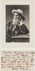Autographs:Authors, Walt Whitman Autograph Note Signed ...