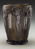 Art Glass:Lalique, R. Lalique Topaz Glass Danaides Vase. Circa 1926. Molded R.LALIQUE, engraved FRANCE. M p. 433, No. 972....