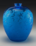 Art Glass:Lalique, R. Lalique Blue and Frosted Glass Acanthes Vase. Circa 1921. Engraved R. Lalique . M p. 417, No. 902. Ht...