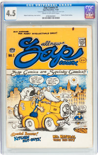Zap Comix #1 1st Printing Signed by Plymell and Crumb (Apex Novelties, 1967) CGC VG+ 4.5 Cream to off-white pages.... (T...