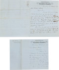 Political:Small Paper (pre-1896), [Gideon Welles]: Letters from Pennsylvania Governor Curtin....(Total: 2 Items)