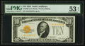Small Size:Gold Certificates, Fr. 2400 $10 1928 Gold Certificate. PMG About Uncirculated 53 EPQ.. ...