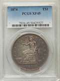 Trade Dollars: , 1874 T$1 XF45 PCGS. PCGS Population (15/142). NGC Census: (11/121).Mintage: 987,100. Numismedia Wsl. Price for problem fre...
