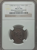 Half Cents, 1795 1/2 C Plain Edge, No Pole, Thin Planchet, C-6a, B-6a, R.2, MS61 Brown NGC. Our EAC Grade AU50. Manley Die State 1....