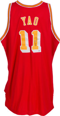 cheap for discount efc52 8e09c 2004-05 Yao Ming Game Worn Signed Houston Rockets Throwback ...