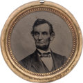 Political:Ferrotypes / Photo Badges (pre-1896), Abraham Lincoln: Largest Size 1864 Ferrotype....