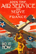 "Movie Posters:War, World War I Propaganda (U.S. Government Printing Office, 1917). Recruitment Poster (25"" X 37"") ""Join the Air Service and Ser..."
