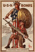 "Movie Posters:War, World War I Propaganda (U.S. Government Printing Office, 1917).Third Liberty Loan Poster (20"" X 30"") ""Weapons for the Liber..."