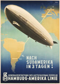 "Movie Posters:Miscellaneous, Graf Zeppelin (Erasmusdruck, Berlin, 1937). German Travel Poster(23"" X 33.5"") ""Graf Zeppelin, Hamburg-Amerika Linie."". ..."