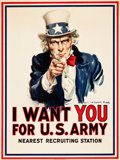 "Movie Posters:War, World War I Propaganda by James Montgomery Flagg (Leslie-Judge Co., 1917). Poster (30"" X 40"") ""I Want You for U.S. Army."". ..."