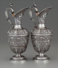 Silver Holloware, British:Holloware, A Pair of John Samuel Hunt Victorian Cellini Pattern PartialGilt Silver Wine Ewers, Hunt & Roskell, London, Eng... (Total:2 )